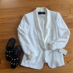 Zara M BLOGGERS FAVORITE White Tuxedo Blazer